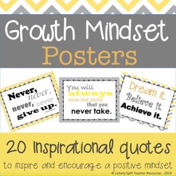 18 Growth Mindset Inspirational Quote Posters in Gray and Yellow