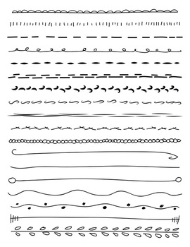 18 Hand Drawn Doodle Lines Set #1 | PNG + Vector Clipart | Border, Divider