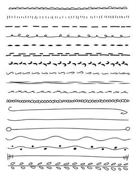 18 Hand Drawn Doodle Lines Set #1   PNG + Vector Clipart   Border, Divider