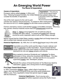 18 - Imperialism - Scaffold/Guided Notes (Filled-In Only)