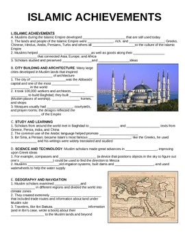 UNIT 3 LESSON 5. Islamic Achievements GUIDED NOTES