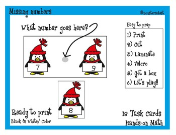 18 Math Task Cards. Missing Number. (Numbers to 20) Ready to print, easy to prep