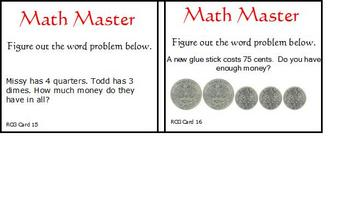 18 Math Task Cards for Station, Center or Pocket Chart