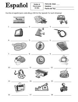 18 Media & Electronics Vocabulary IDs Worksheet