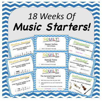 18 Music Lesson Starters (Editable Slides)