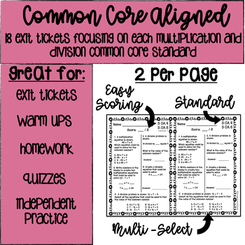 18 No Prep Exit Tickets | Multiplication and Division | 3rd Grade