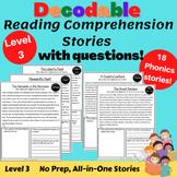 Decodable Passages & questions-Level 3 Orton Gillingham with DIGITAL VERSION