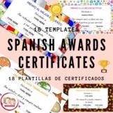 18 PRINTABLE SPANISH AWARDS CERTIFICATES. Diplomas para la clase de español.