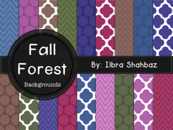 Fall Forest Digital Paper Backgrounds