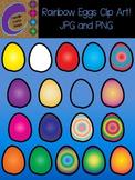 18 Rainbow EGGS Clip Art  Color Images