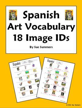 Spanish Art 18 Vocabulary Image IDs Worksheet