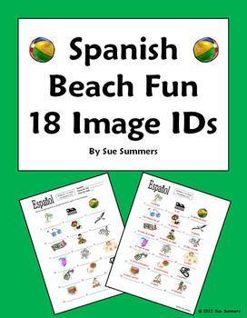 Spanish Beach Fun Vocabulary Image IDs Worksheet - La Playa
