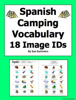 Spanish Camping and Outdoors Vocabulary 18 Image IDs Worksheet