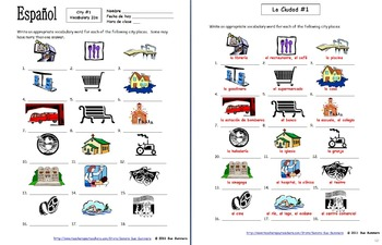 Spanish City Places #1 - 18 Vocabulary IDs - Lugares en la Ciudad