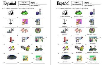 Spanish City 18 Vocabulary IDs Worksheet #3 - La Ciudad