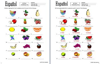 Spanish Food / Fruit Vocabulary IDs - La Comida / La Fruta