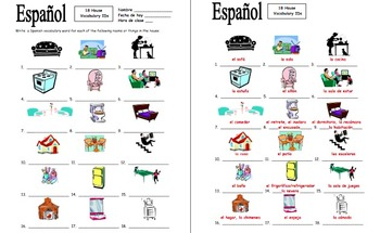 Spanish House 18 Vocabulary IDs - La Casa