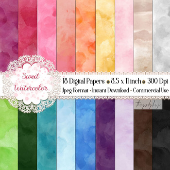 18 Sweet Ombre Watercolor Digital Images Card Invitation
