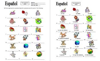 Spanish Toys Vocabulary IDs Worksheet - 18 Images