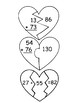 18 Two digit Adding Heart Puzzles