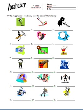 18 Verb Image IDs Homework for Any Language
