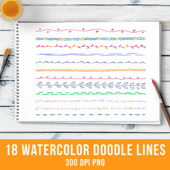 18 Watercolor Doodle Lines Set 1, Watercolor Clipart, Line Dividers, Borders