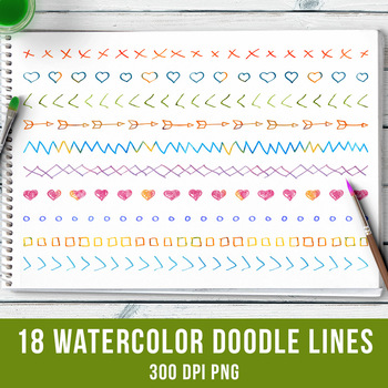 18 Watercolor Doodle Lines Set 2, Watercolor Clipart, Page Dividers, Clipart