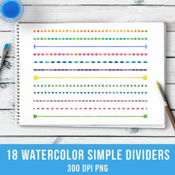 18 Watercolor Simple Shape Line Dividers, Watercolor Clipart, Borders, Header