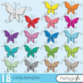 18 buttefly clipart commercial use, vector graphics, digital clip art - CL498