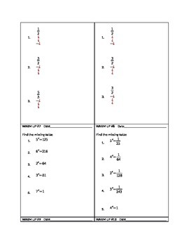 18 daily warm ups on exponents (including exponents as fractions)
