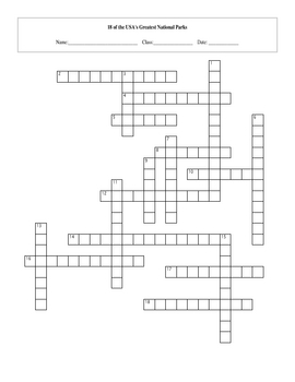 18 of the USA's Greatest National Parks Crossword with Key