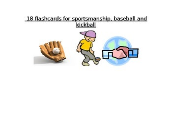 18 vocabulary terms for sportsmanship, baseball, and kickball