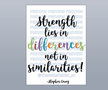 "18"" x 24"" Classroom Poster - ""Strength lies in differences, not in similarities"""