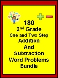 180 2nd Grade One and Two Step Addition and Subtraction Word Problems BUNDLE