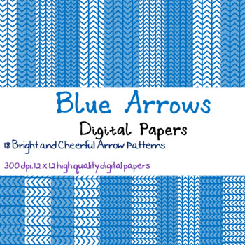 18 Bright Blue Arrow patterned digital papers
