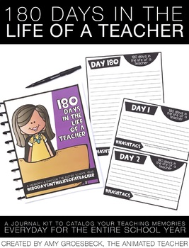 180 Days in the Life of a Teacher – EDITABLE Memory a Day Teacher Journal Kit