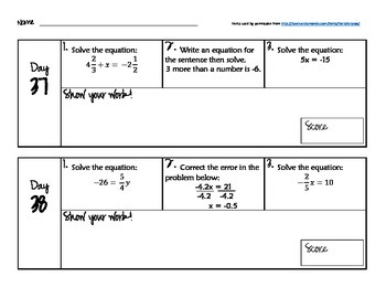 180 Days of Common Core - Daily Math Starters Part 1