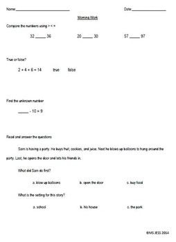 180 Days of First Grade Common Core Morning Work