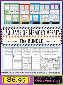 180 Days of Fun Memory Verse Activities BUNDLE