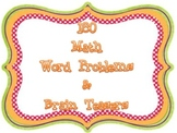 180 Days of Math Brain Teasers (word problems : 1st grade)