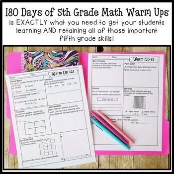 180 Days of Math Warm Ups (5th Grade Edition)