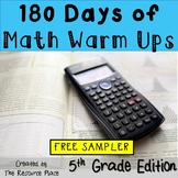 180 Days of Math Warm Ups (5th Grade Edition) - FREE SAMPLER!