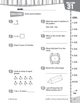 180 Days of Math for Third Grade (Week 7 eLesson)