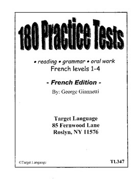 180 French Practice Tests - Levels 1-4