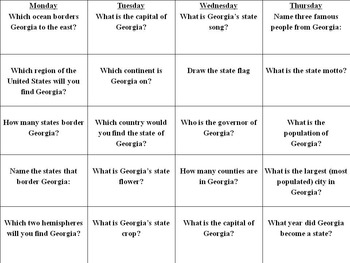 180 Georgia History Questions! Nine Weeks Worth of HW!