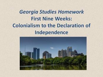 180 Georgia History Questions! Nine Weeks Worth of HW!