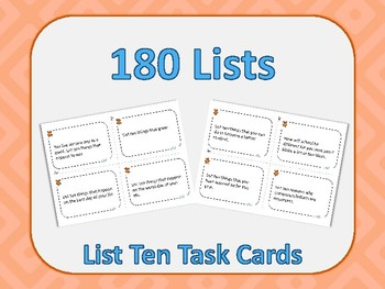 180 List Ten Writing Prompt Cards