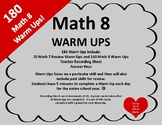 BACK TO SCHOOL 180 Math 8 Warm Ups!