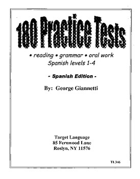 180 Practice Spanish Tests - Level 1-4