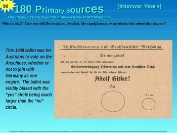 180 warm-ups: 1 primary source photo, cartoon or quote for each day of History